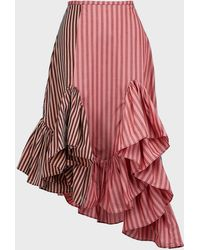 Marques'Almeida Patchwork-stripe Asymmetric Skirt - Red