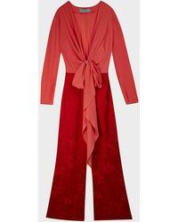 Silvia Tcherassi Kalamary Two-tone Silk Jumpsuit - Red