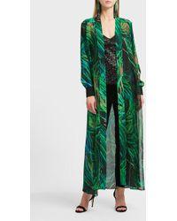 Elie Saab Printed Silk-blend Coat - Green