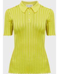 Victoria Beckham Rib-knit Slim Polo Shirt - Yellow