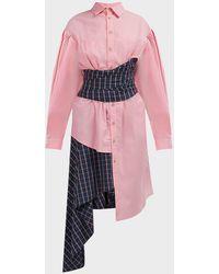 Natasha Zinko Asymmetric Wrap-waist Shirt Dress - Pink
