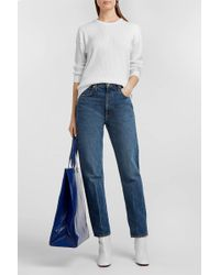 Courreges Appliquéd Ribbed Cotton And Cashmere-blend Sweater - Blue
