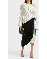 Monse Draped Pinstripe Skirt - Black