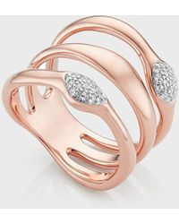 Monica Vinader Nura Teardrop Multi Band Diamond Pavé Ring - Multicolor