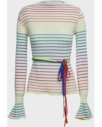Roland Mouret Edlin Rainbow-stripe Crepe Top - Multicolor