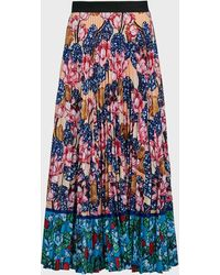 Mary Katrantzou Uni Rose-print Pleated Crepe Skirt - Blue