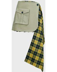 Monse Tartan Pleated Cargo Skirt - Green