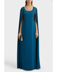 Marchesa notte Embroidered Cape Gown - Blue