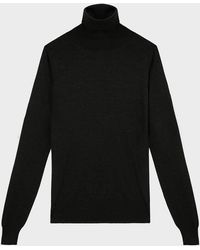 The Row Ronald High-neck Wool Sweater - Black