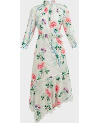 Andrew Gn Asymmetric Floral Silk Midi Dress - Multicolor