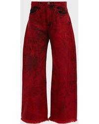 Marques'Almeida Frayed Acid-wash Low-rise Boyfriend Jeans - Red