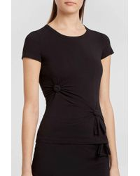 Helmut Lang - Knotted Cotton-blend Jersey T-shirt, Size S, Women, Black - Lyst