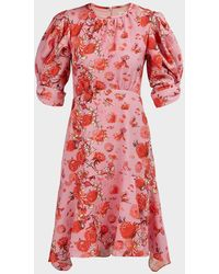 Peter Pilotto Asymmetric Floral Crepe Mini Dress - Red