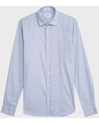 Hartford Sammy Striped Mandarin-collar Shirt - Blue