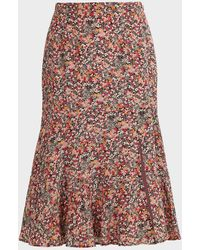 Altuzarra Clementine Dragon Fruit-print Silk Midi Skirt - Red