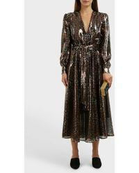 MSGM Leopard-print Sequinned Dress - Black
