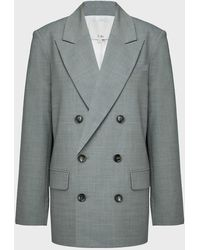 Tibi Double-breasted Wool-blend Blazer - Gray