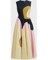 ROKSANDA Catia Colour-blocked Midi Dress - Multicolor