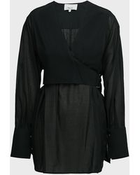 3.1 Phillip Lim Wrap-over Belted Voile Blouse - Black