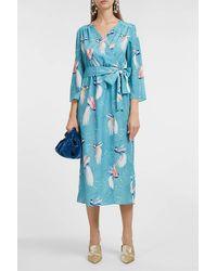 Borgo De Nor Lorena Waist-tie Long-sleeve Dress - Blue