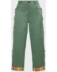Monse Plaid-hem Fringed Cropped Trousers - Green