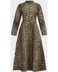 Ganni Leopard-print Poplin Midi Dress - Multicolour