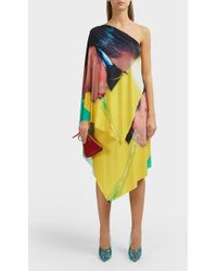 Adam Selman Printed Asymmetric One Shoulder Dress - Yellow