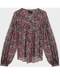Isabel Marant Orionea Floral Silk Blouse - Multicolor
