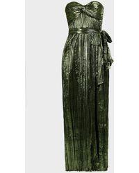 Jonathan Simkhai Metallic Strapless Plissé Gown - Green