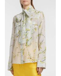Merchant Archive - Pussy-bow Floral-print Cotton And Silk-blend Blouse - Lyst