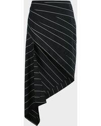 Monse Pinstriped Asymmetric Skirt - Black