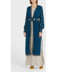 Talitha Embroidered Silk Robe - Blue