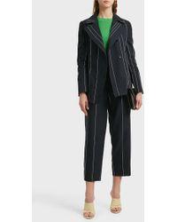 Cedric Charlier - Striped Linen And Cotton-blend Blazer - Lyst