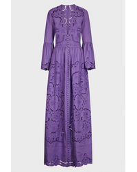 Costarellos Rusie Button-down V-neck Gown - Purple