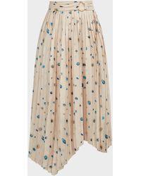 Aje. Overture Pleated Satin Midi Skirt - Natural