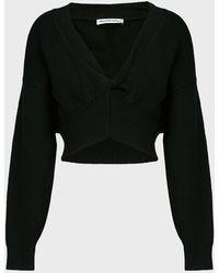 T By Alexander Wang V-neck Cotton-blend Jumper - Black
