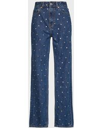 Ganni Stud-detailed High-waist Jeans - Blue