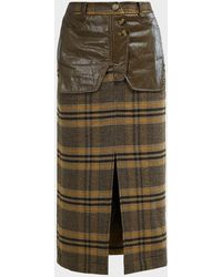 Rejina Pyo Maggie Leather-trimmed Check Skirt - Green