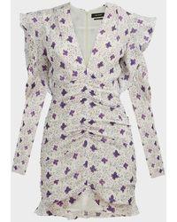 Isabel Marant Etya Ruffled Floral Mini Dress - Gray