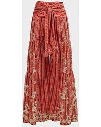 Agua Bendita Jade Floral Wide-leg Trousers - Red