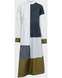 Tibi Shirred Patchwork-panel Shirtdress - Blue