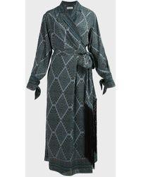 Amanda Wakeley Paisley-print Wrap Silk Dress - Blue
