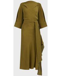 Petar Petrov Amee Open-back Silk-crepe Dress - Green