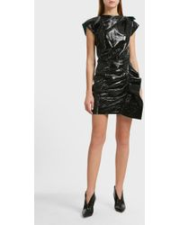 Isabel Marant Fresly Ruffle Detail Leather Skirt - Black