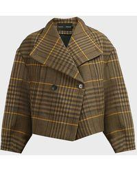 Proenza Schouler Plaid Virgin Wool And Linen Jacket - Green