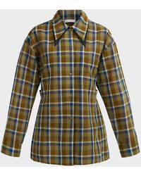 Rejina Pyo Rory Plaid Double-collared Shirt - Green