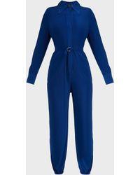 Norma Kamali Shirt Jog Jersey Jumpsuit - Blue