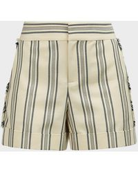 Monse Fringed Striped Cotton-blend Shorts - Natural