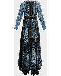 Altuzarra Tamourine Floral-print Silk-chiffon Maxi Dress - Blue