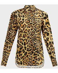 Paco Rabanne Leopard-print Crepe Shirt - Yellow